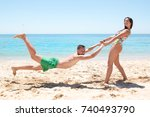 young couple playing and having ... | Shutterstock . vector #740493790