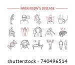parkinson's disease. symptoms ... | Shutterstock . vector #740496514