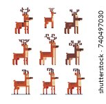 christmas deers icons set.... | Shutterstock .eps vector #740497030