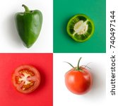 bell pepper and tomato on a... | Shutterstock . vector #740497144