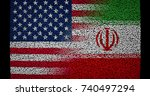 american and iranian flag ... | Shutterstock . vector #740497294