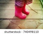Little Girl In Rainboots In...