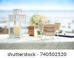 romantic wedding ceremony on... | Shutterstock . vector #740502520