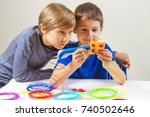 children creating with 3d... | Shutterstock . vector #740502646
