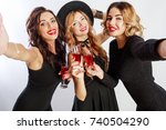 close up self portrait of three ... | Shutterstock . vector #740504290