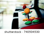 silhouette yellow joystick and... | Shutterstock . vector #740504530