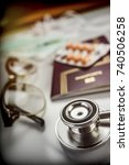 Small photo of basic medicine elements to travel abroad, conceptual image