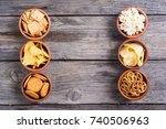 frame . mix of snacks  ... | Shutterstock . vector #740506963