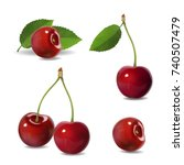 cherry realistic fruit icons... | Shutterstock . vector #740507479