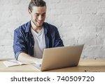 handsome young caucasian... | Shutterstock . vector #740509720