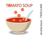hot bowl of soup  dish isolated ... | Shutterstock .eps vector #740511400