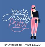 pretty young woman in... | Shutterstock .eps vector #740512120