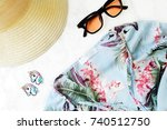 fashion accessories on white...   Shutterstock . vector #740512750