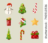 new year icons set with snowman ... | Shutterstock .eps vector #740513536