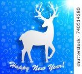 flat design sparkling new year... | Shutterstock .eps vector #740514280