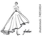 wedding dress design  black and ...   Shutterstock . vector #740514814