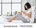 asian girl she is relaxing  she ... | Shutterstock . vector #740519500
