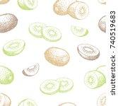 kiwi fruit graphic color...   Shutterstock .eps vector #740519683