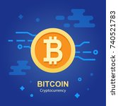bitcoin concept. cryptocurrency ... | Shutterstock .eps vector #740521783
