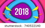 2018 new year celebration... | Shutterstock .eps vector #740522140