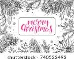 vintage christmas vector... | Shutterstock .eps vector #740523493