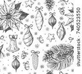 vintage christmas vector... | Shutterstock .eps vector #740523550