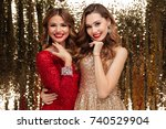 portrait of two lovely pretty... | Shutterstock . vector #740529904