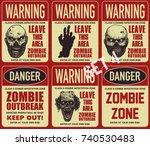 poster zombie outbreak. sign... | Shutterstock .eps vector #740530483