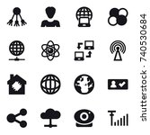 16 vector icon set   share ... | Shutterstock .eps vector #740530684