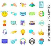 achievement icons set. cartoon... | Shutterstock .eps vector #740539450
