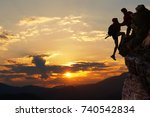 teamwork hiking help each other ... | Shutterstock . vector #740542834