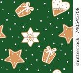 seamless pattern of gingerbread ... | Shutterstock .eps vector #740545708