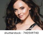 long brunette brunette hair...   Shutterstock . vector #740549740