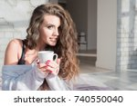 sexy girl in the morning with a ... | Shutterstock . vector #740550040