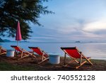 beach chair with beautiful... | Shutterstock . vector #740552128