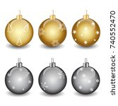 set of christmas balls with... | Shutterstock .eps vector #740552470