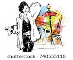 fashion girl in sketch style... | Shutterstock . vector #740555110