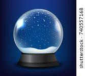 Winter Snow Globe With Blue...