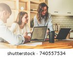group of young people working... | Shutterstock . vector #740557534