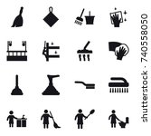 16 vector icon set   broom  rag ... | Shutterstock .eps vector #740558050