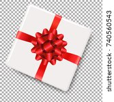 white gift box with red bow... | Shutterstock .eps vector #740560543