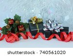 gifts with shiny bows on a... | Shutterstock . vector #740561020
