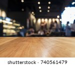 Stock photo table top counter blur bar restaurant cafe background 740561479