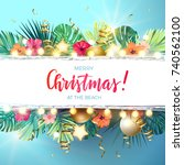 christmas on the summer beach... | Shutterstock .eps vector #740562100