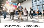 crowd of anonymous blurred... | Shutterstock . vector #740563858