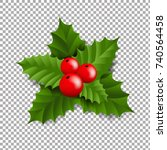 holly berry with transparent... | Shutterstock .eps vector #740564458