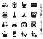 16 vector icon set   bio  bin ... | Shutterstock .eps vector #740568490
