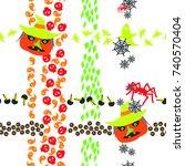 seamless pattern of halloween... | Shutterstock . vector #740570404