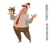 vector cartoon image of a fat... | Shutterstock .eps vector #740572000