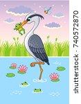 vector illustration with a bird ... | Shutterstock .eps vector #740572870